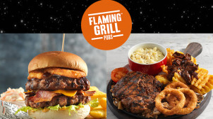Black Friday! Buy 1 Get 1 Free on Mains at Flaming Grill Pubs