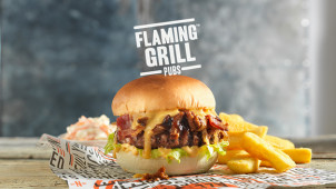 Drink for £1 with Any Burger Order at Flaming Grill Pubs