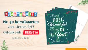 30 kerstkaarten voor slechts €9,95 bij Kaartenhuis