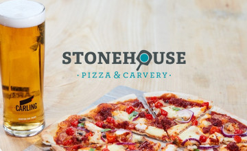 Grab 2 for the Price of 1 on Pizzas & Burgers at Stonehouse Pizza & Carvery - Mondays Only