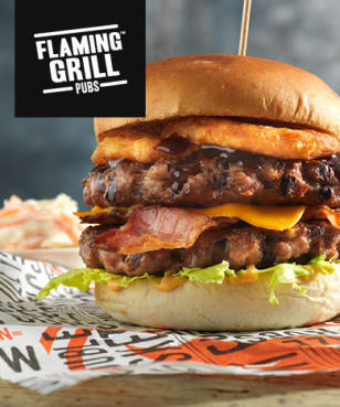 Exclusive 20% Off Total Bill at Flaming Grill Pubs