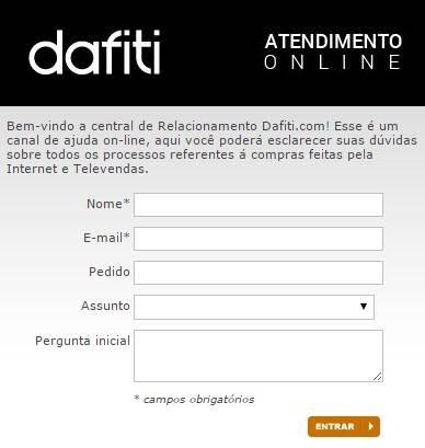 Entre em contato com a Dafiti
