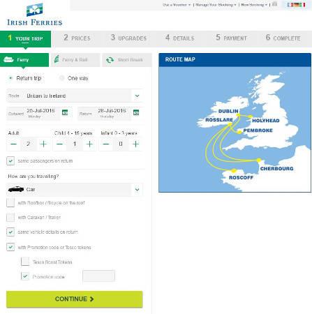 Irish Ferry promo codes