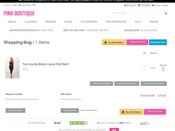 Pink Boutique promo code