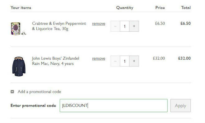 On average, John Lewis offers 0 codes or coupons per month. Check this page often, or follow John Lewis (hit the follow button up top) to keep updated on their latest discount codes. Check for John Lewis' promo code exclusions.