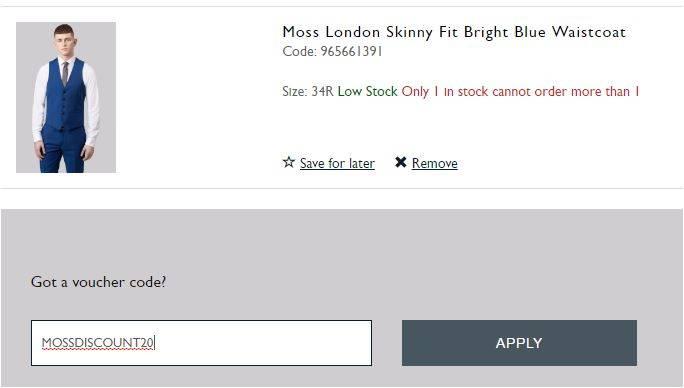 moss bros discount code