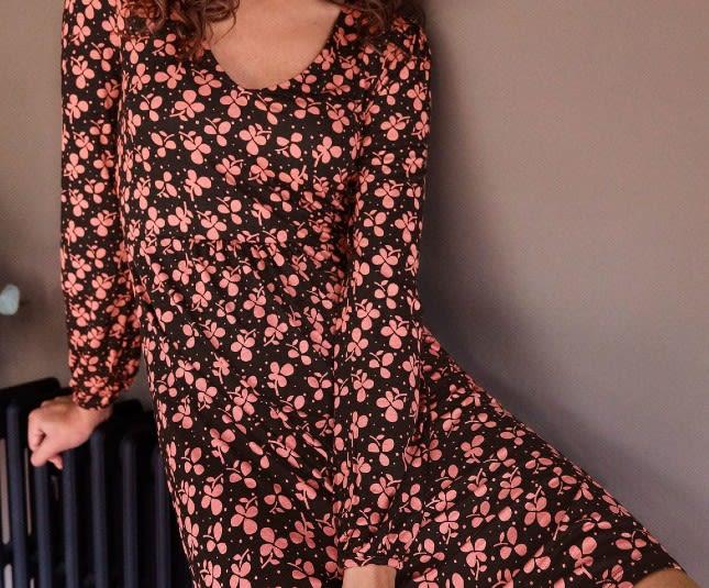 Boden Black Clover Print Hattie Jersey Dress