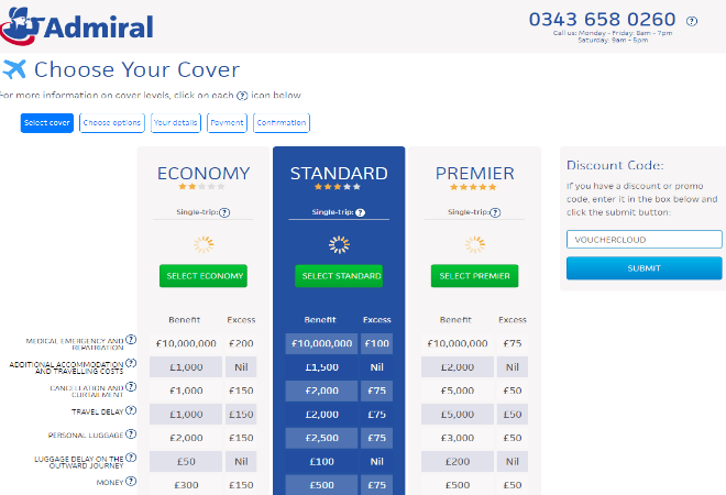 admiral travel insurance discount code