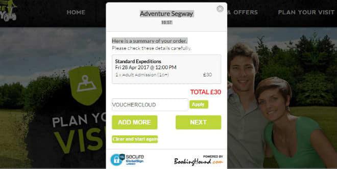 Adventure Segway payment screen