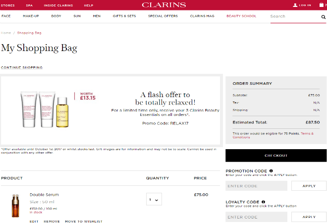 How do I use my Clarins promotion code?
