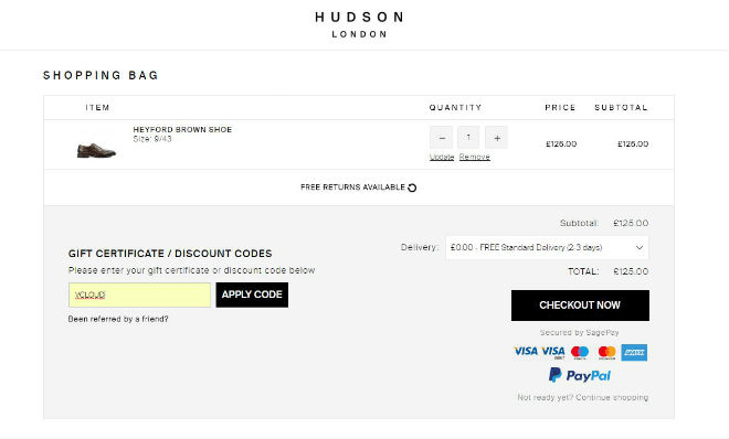 Hudson Shoes Voucher Code