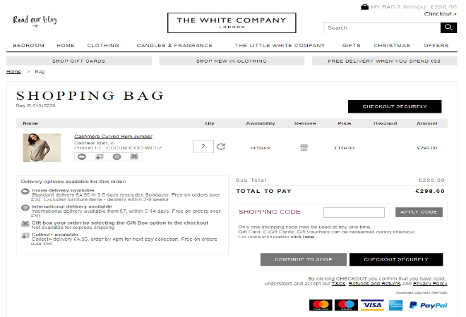 The White Company shopping code