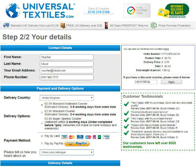 Universal Textiles Voucher Code
