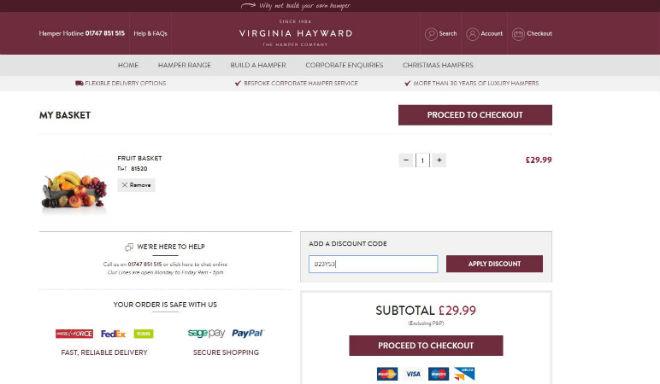 20% Off → Virginia Hayward Hampers Discount Codes for