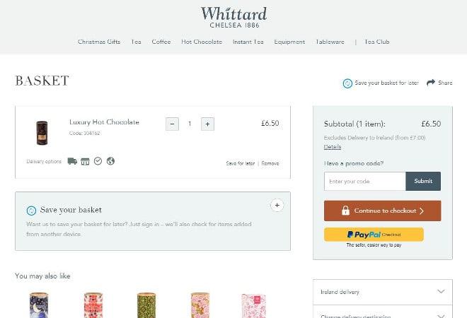 Whittard promo code 1