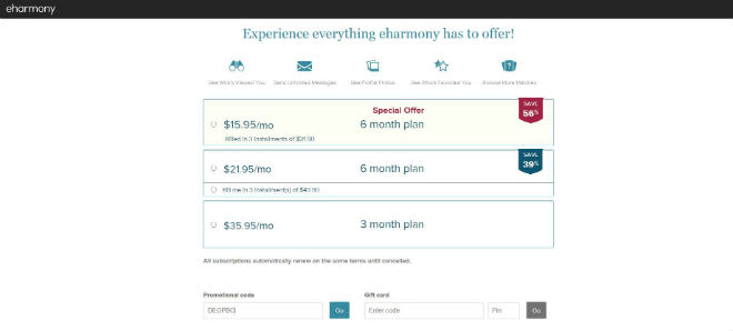 Eharmony coupon 1 month
