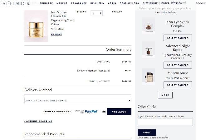 estee lauder offer code