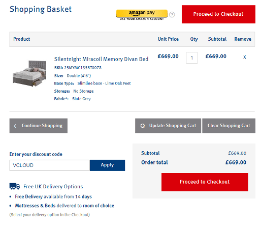 Validating Silentnight discount codes