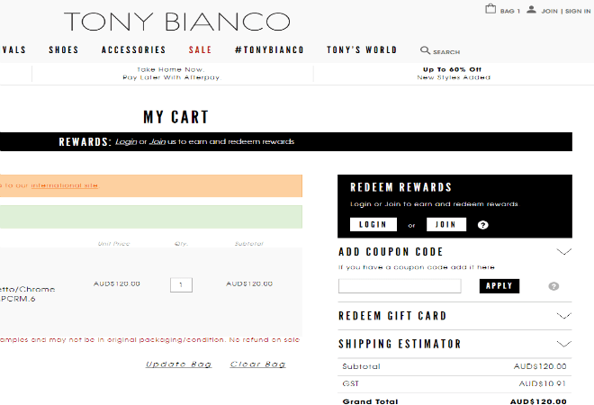 tony bianco coupon code