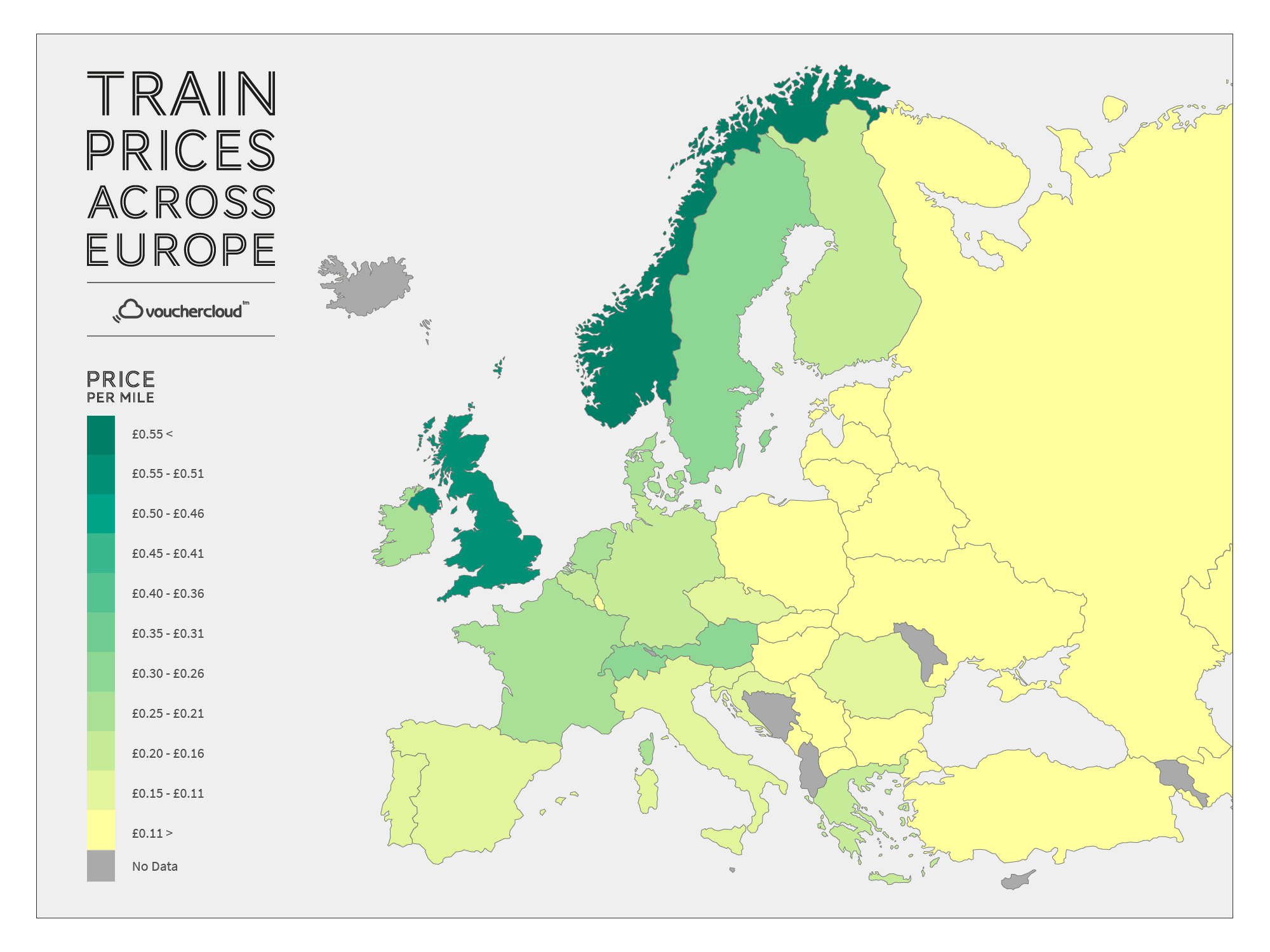 Train Prices Across Europe - Map