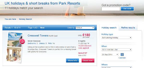 park resorts discount code