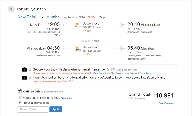 Applying Discount to Goibibo