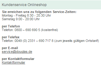 Kundenservice Onlineshop Douglas