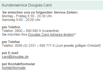 Kundenservice Douglas Card