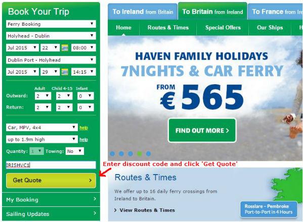 Irish Ferries discount code