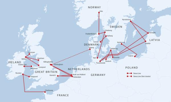 Stena Line Route Map
