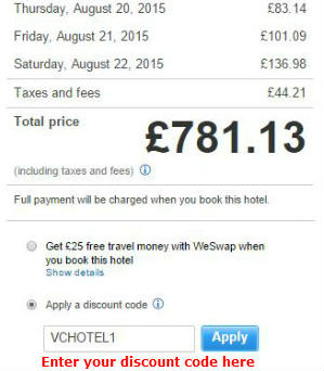 Hotel discount code