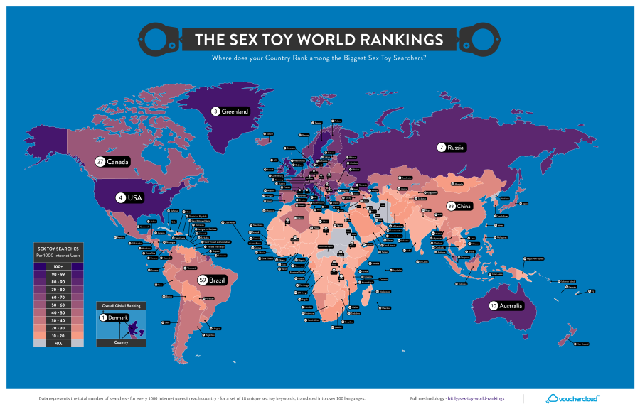 Sex Toy World Rankings - Map